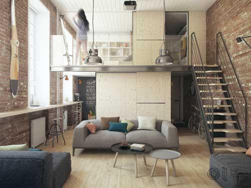 thiết kế căn hộ studio có gác lửng 1