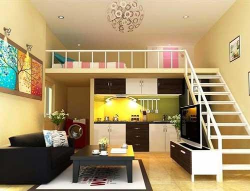 thiết kế căn hộ studio có gác lửng 2