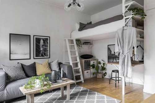 thiết kế căn hộ studio có gác lửng 4