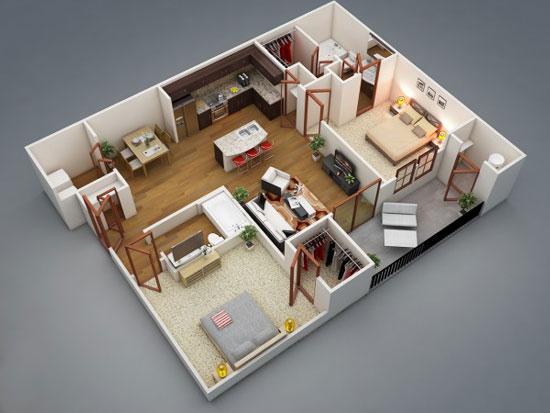 50 cách thiết kế nội thất chung cư 2 phòng ngủ
