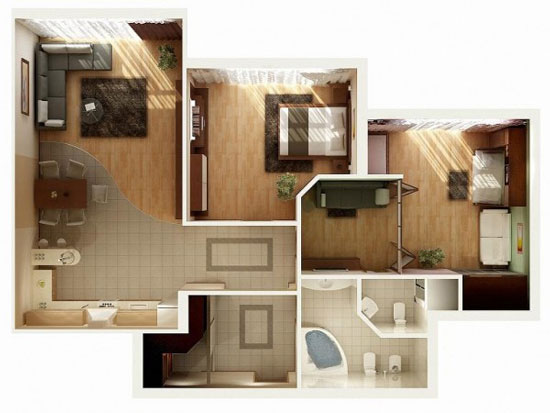nội thất chung cư 2 phòng ngủ 10