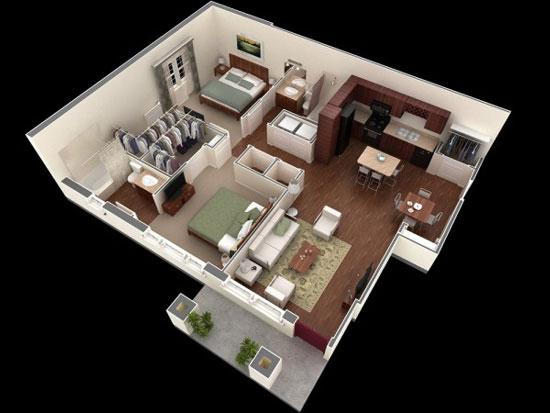 nội thất chung cư 2 phòng ngủ 11