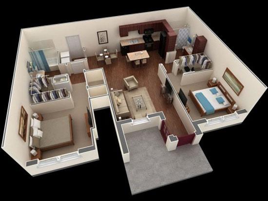 nội thất chung cư 2 phòng ngủ 12