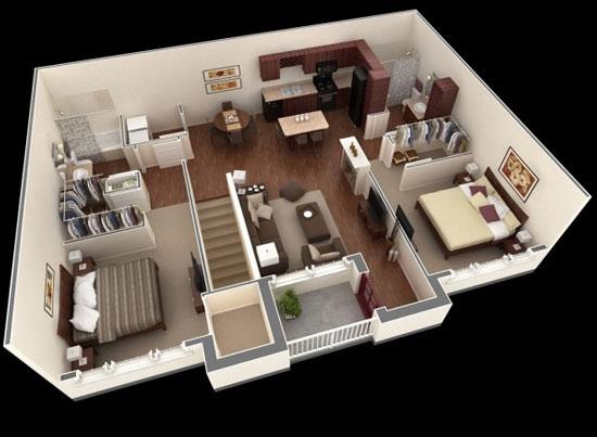 nội thất chung cư 2 phòng ngủ 15
