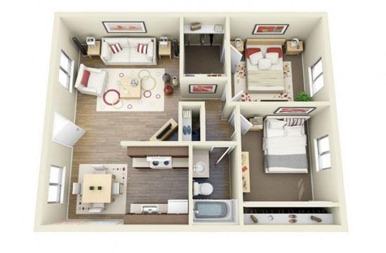 nội thất chung cư 2 phòng ngủ 16