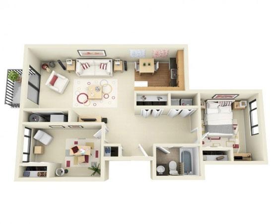 nội thất chung cư 2 phòng ngủ 17