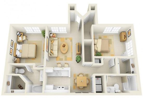 nội thất chung cư 2 phòng ngủ 18