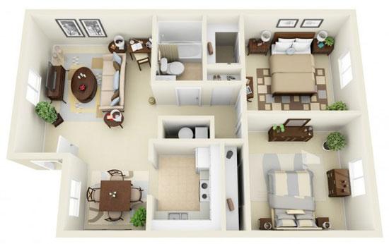 nội thất chung cư 2 phòng ngủ 20