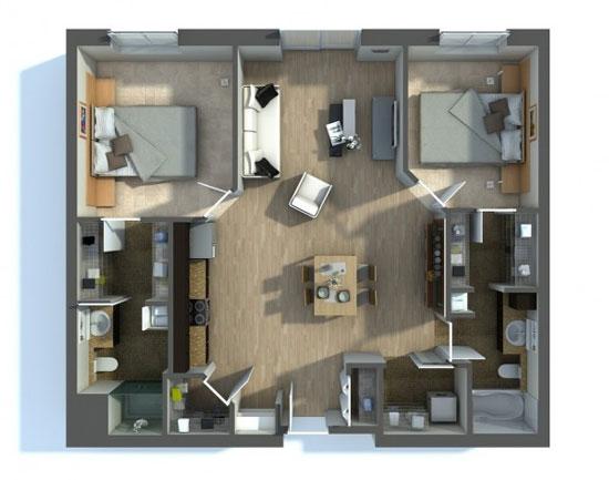 nội thất chung cư 2 phòng ngủ 21