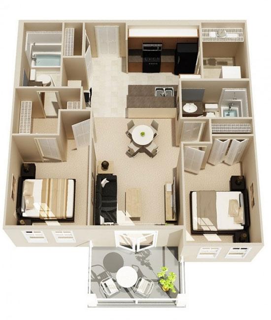 nội thất chung cư 2 phòng ngủ 22
