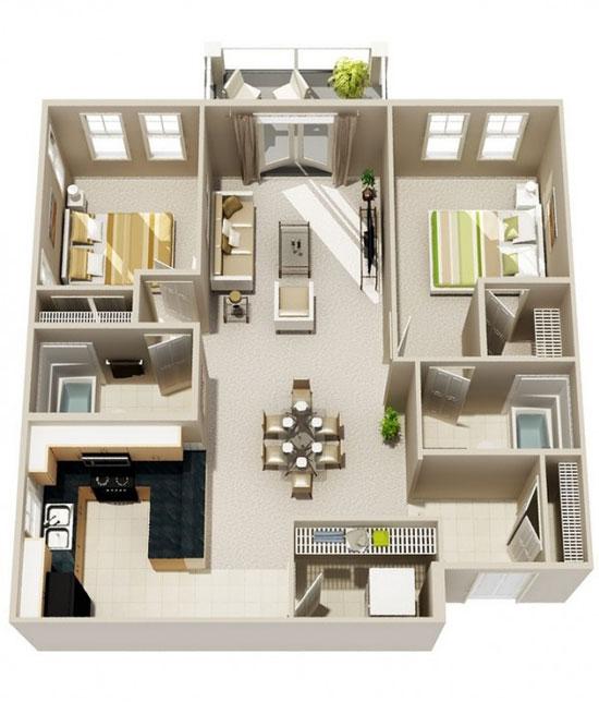 nội thất chung cư 2 phòng ngủ 23