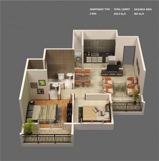 nội thất chung cư 2 phòng ngủ 24