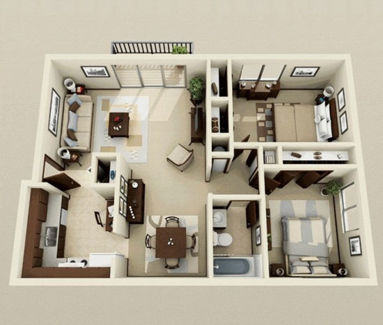 nội thất chung cư 2 phòng ngủ 25