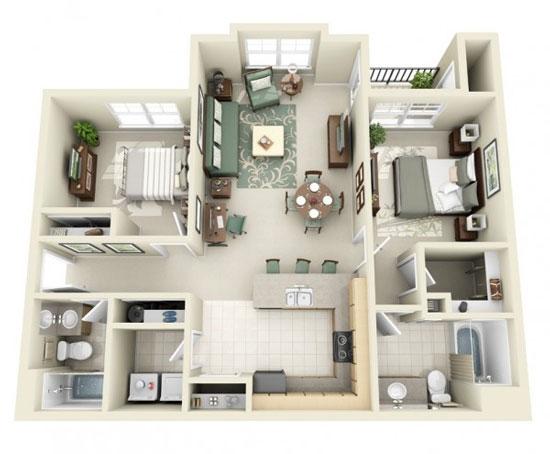 nội thất chung cư 2 phòng ngủ 26