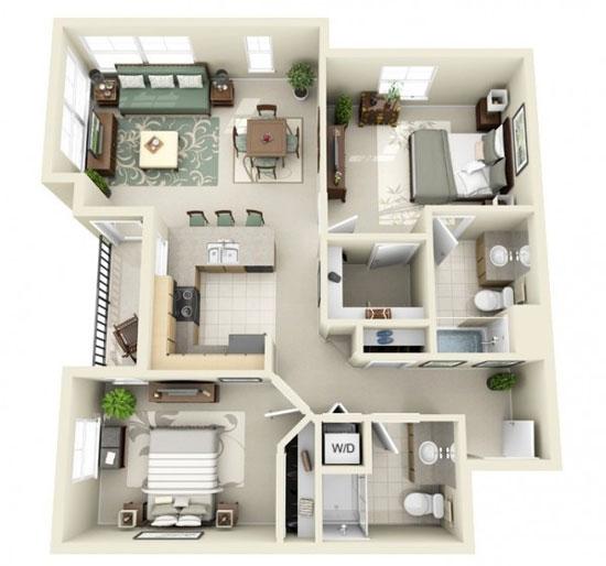 nội thất chung cư 2 phòng ngủ 27