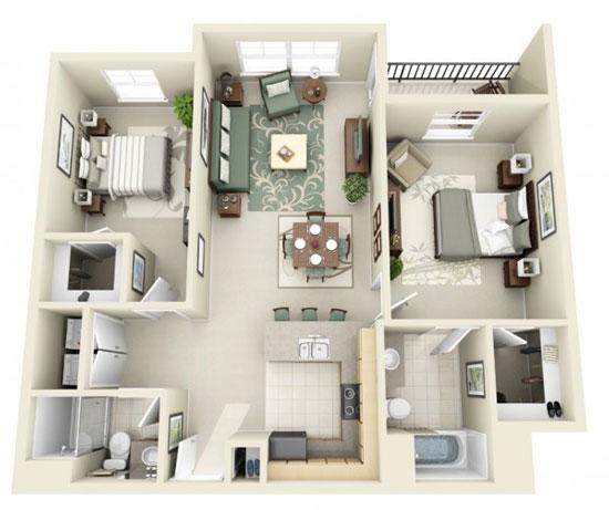 nội thất chung cư 2 phòng ngủ 28