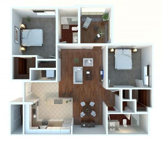 nội thất chung cư 2 phòng ngủ 29