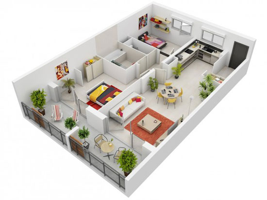 nội thất chung cư 2 phòng ngủ 3