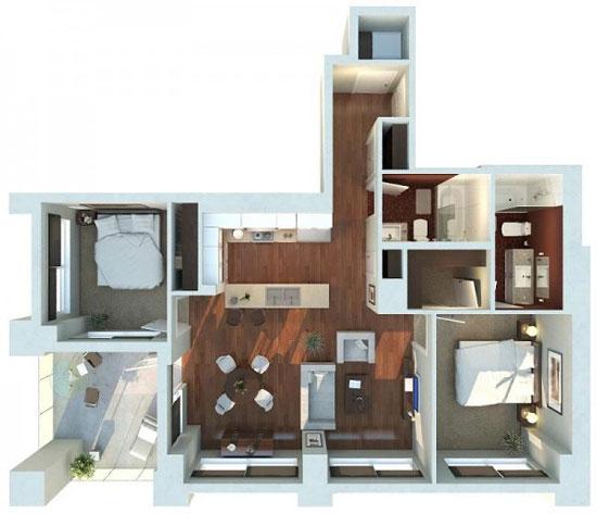 nội thất chung cư 2 phòng ngủ 30