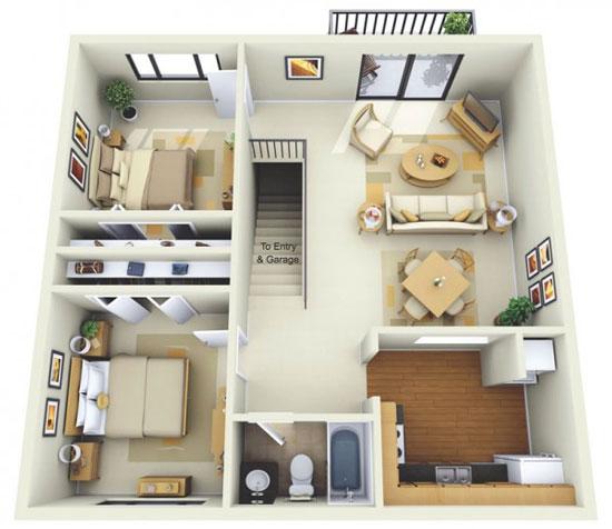 nội thất chung cư 2 phòng ngủ 35