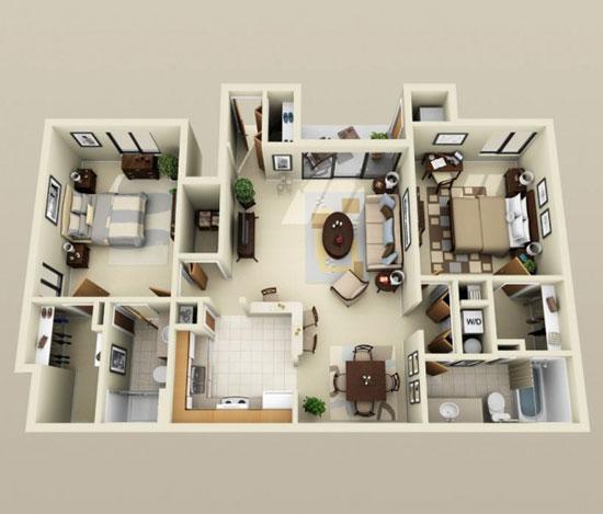 nội thất chung cư 2 phòng ngủ 36