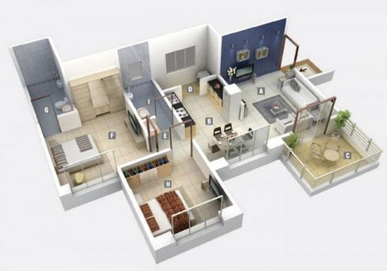 nội thất chung cư 2 phòng ngủ 37