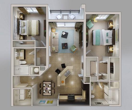 nội thất chung cư 2 phòng ngủ 38