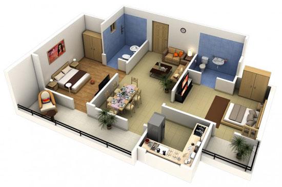 nội thất chung cư 2 phòng ngủ 39