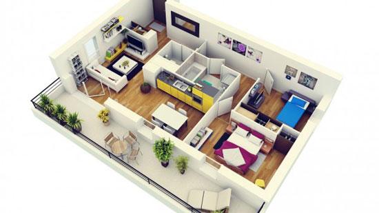 nội thất chung cư 2 phòng ngủ 4