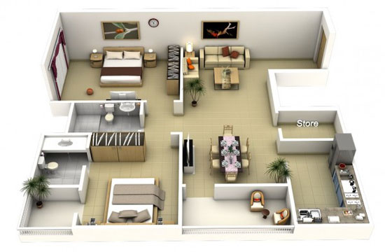 nội thất chung cư 2 phòng ngủ 40