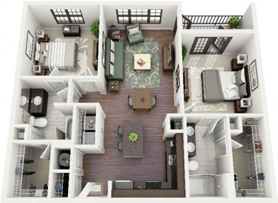 nội thất chung cư 2 phòng ngủ 42