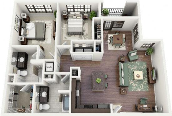 nội thất chung cư 2 phòng ngủ 43