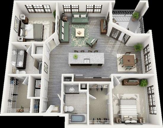 nội thất chung cư 2 phòng ngủ 44