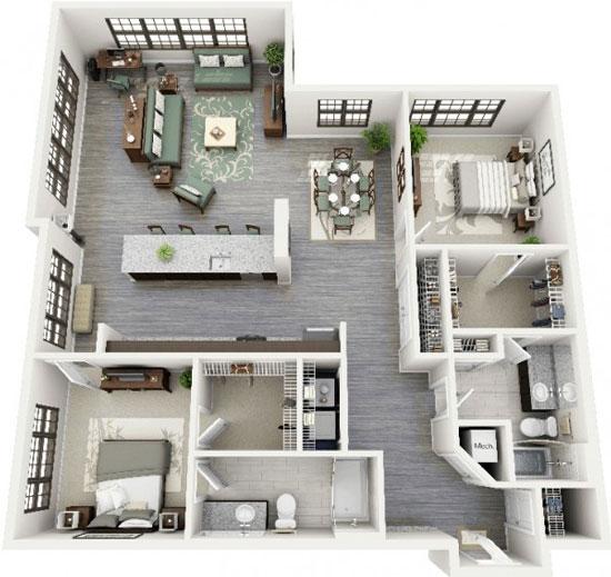nội thất chung cư 2 phòng ngủ 45