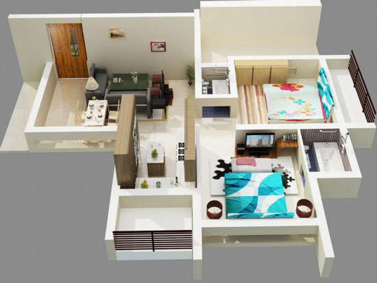 nội thất chung cư 2 phòng ngủ 48