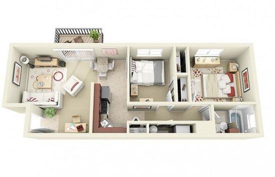 nội thất chung cư 2 phòng ngủ 49
