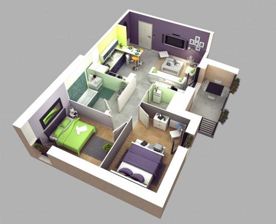 nội thất chung cư 2 phòng ngủ 5