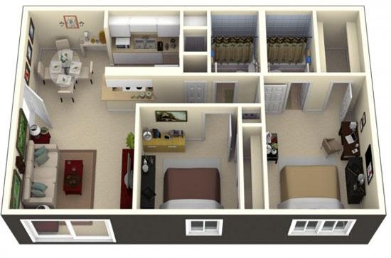nội thất chung cư 2 phòng ngủ 50