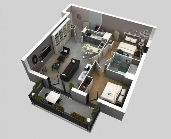 nội thất chung cư 2 phòng ngủ 6