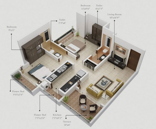 nội thất chung cư 2 phòng ngủ 7