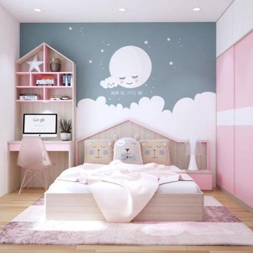 phòng ngủ màu hồng dễ thương cho bé gái 1