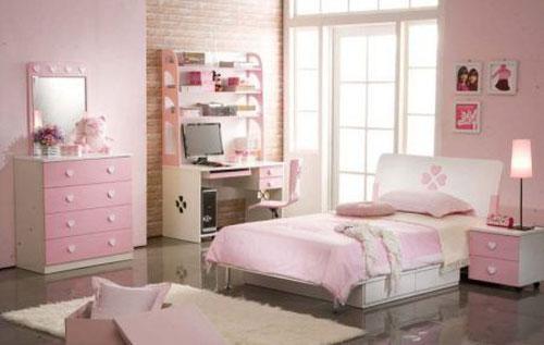 phòng ngủ màu hồng dễ thương cho bé gái 10