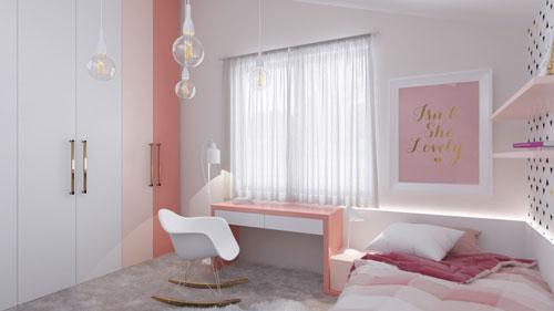 phòng ngủ màu hồng dễ thương cho bé gái 11