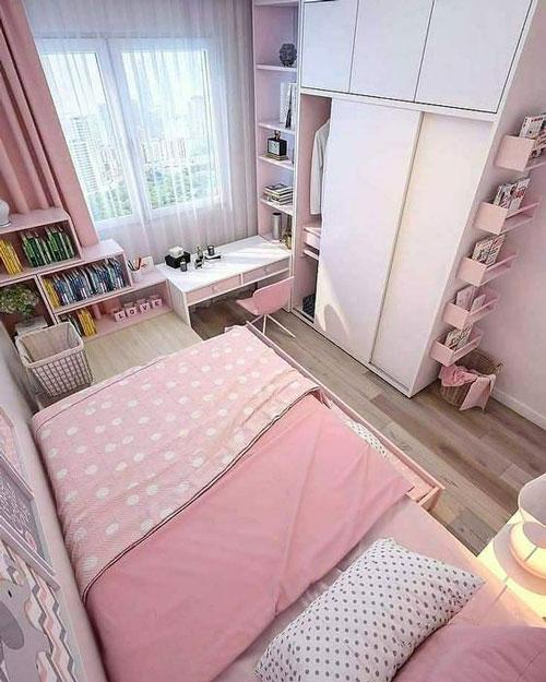 phòng ngủ màu hồng dễ thương cho bé gái 2