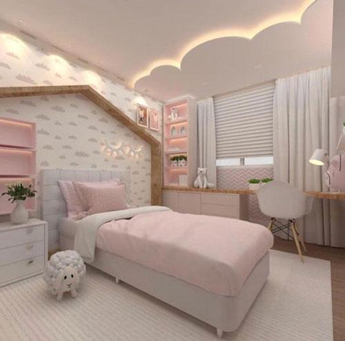 phòng ngủ màu hồng dễ thương cho bé gái 5