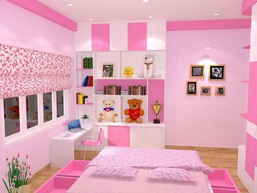 phòng ngủ màu hồng dễ thương cho bé gái 8