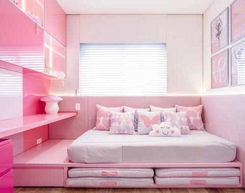 thiết kế phòng ngủ màu hồng 1