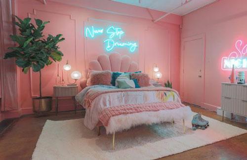 thiết kế phòng ngủ màu hồng 2