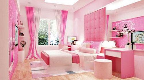 thiết kế phòng ngủ màu hồng 9