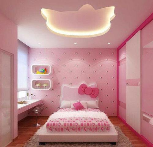 phòng ngủ hello kity màu hồng 1